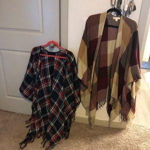 Two soft tasseled ponchos